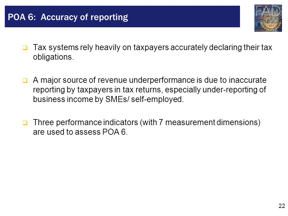 POA 6: Accuracy of reporting