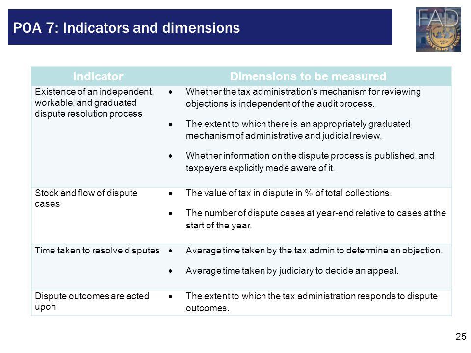 POA 7: Indicators and dimensions