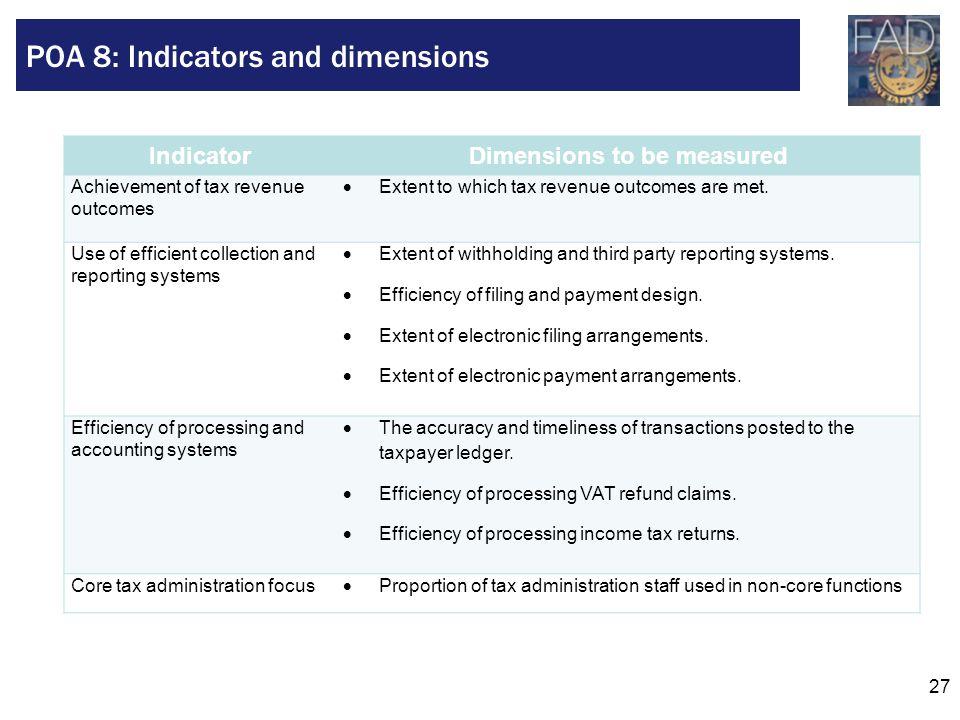 POA 8: Indicators and dimensions