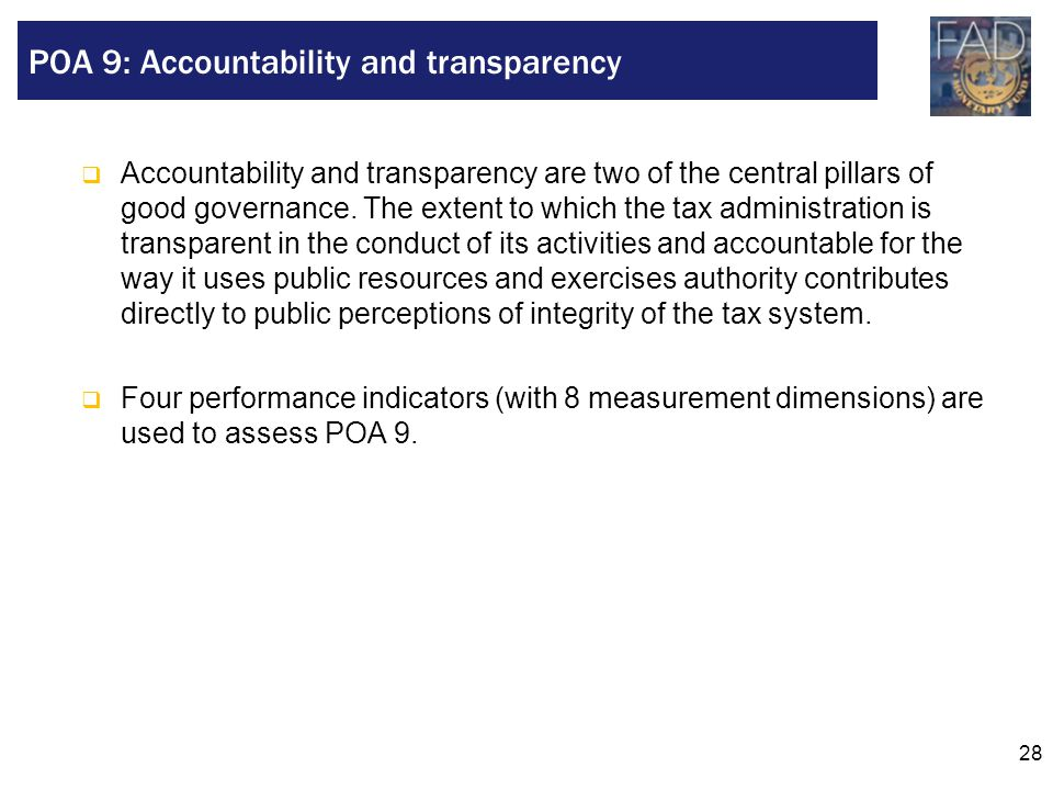 POA 9: Accountability and transparency