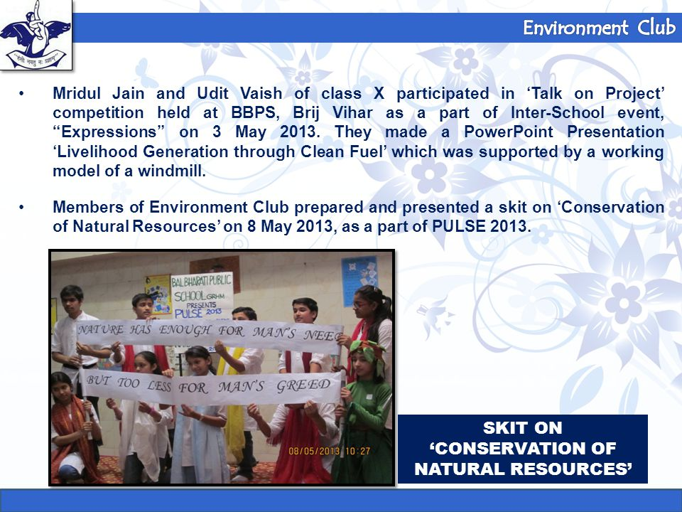SKIT ON 'CONSERVATION OF NATURAL RESOURCES'