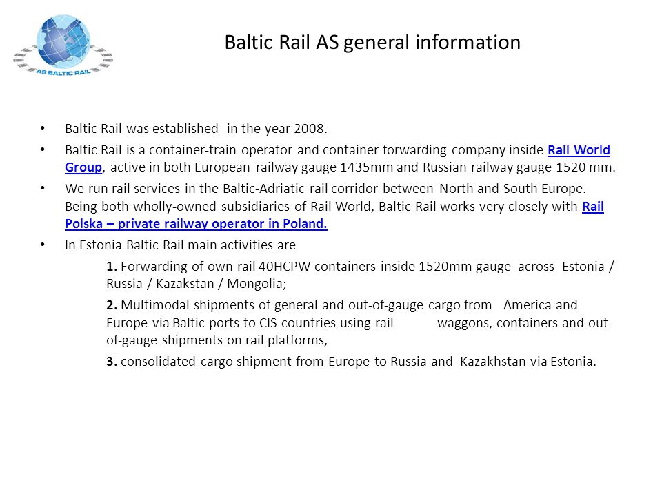 Baltic Rail AS general information
