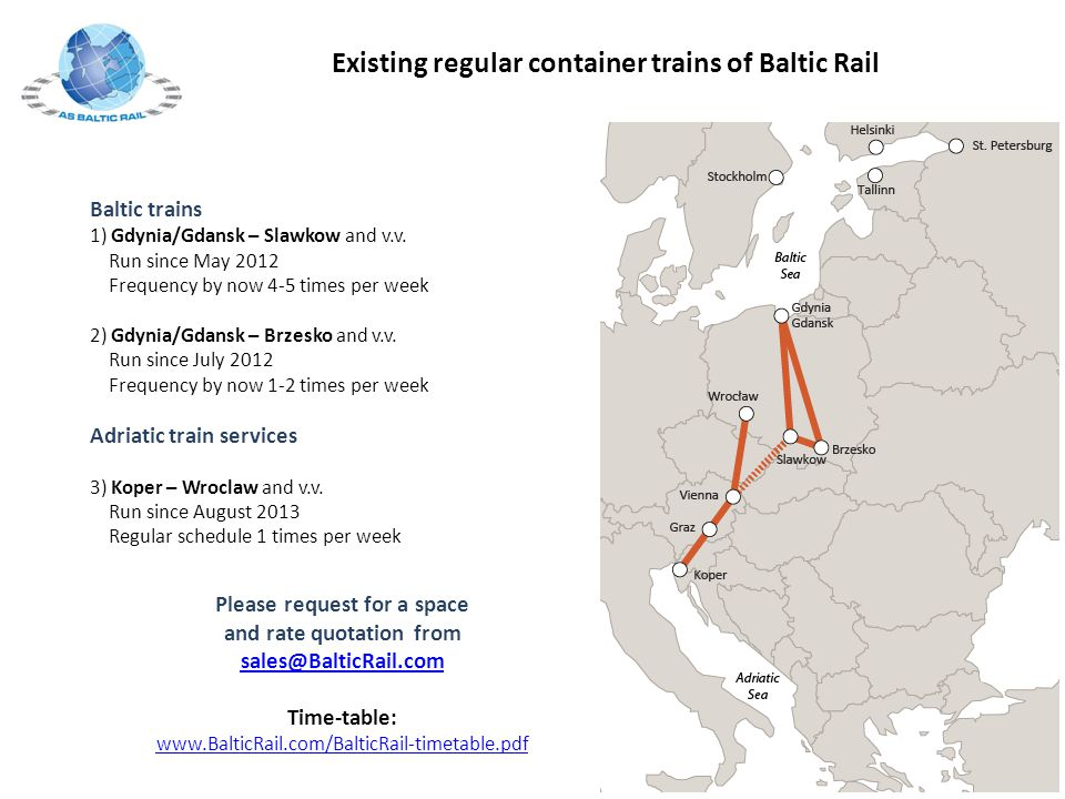 Existing regular container trains of Baltic Rail