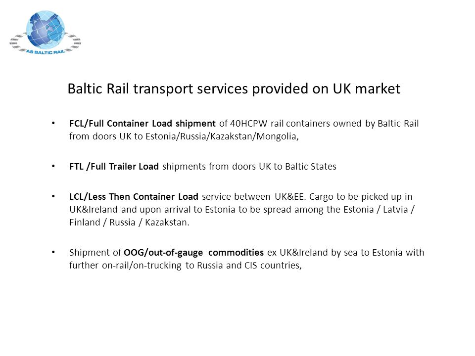Baltic Rail transport services provided on UK market