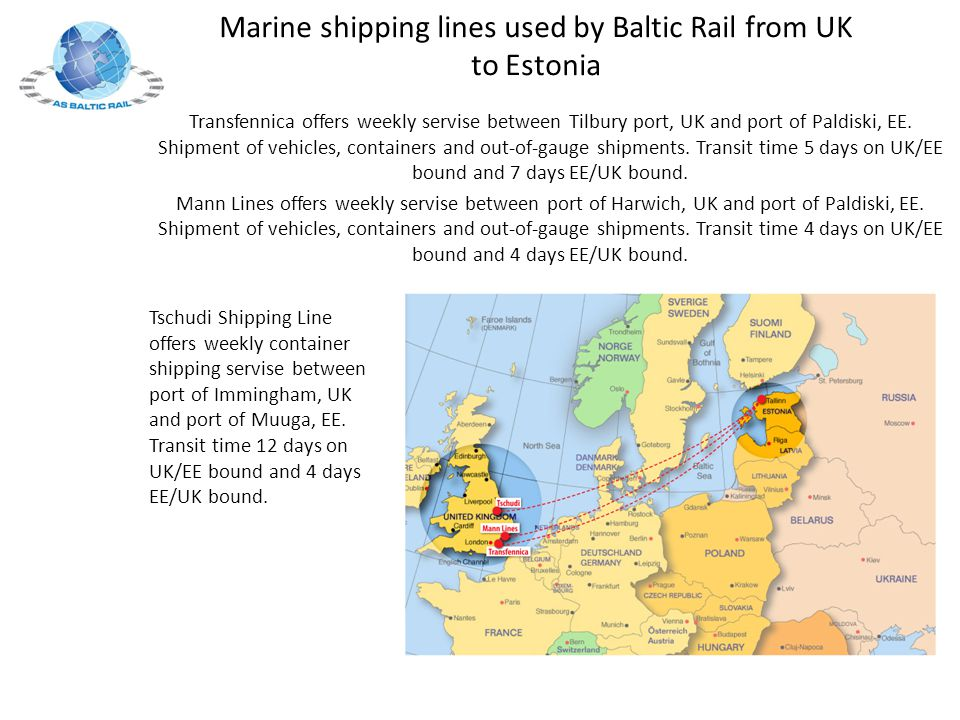 Marine shipping lines used by Baltic Rail from UK to Estonia