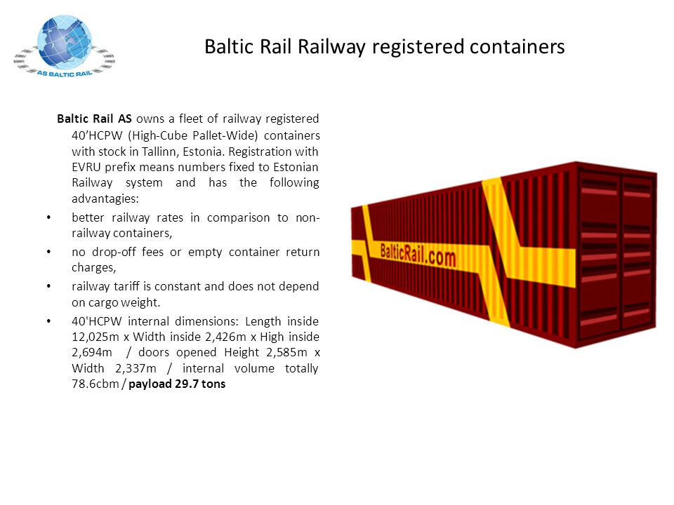 Baltic Rail Railway registered containers