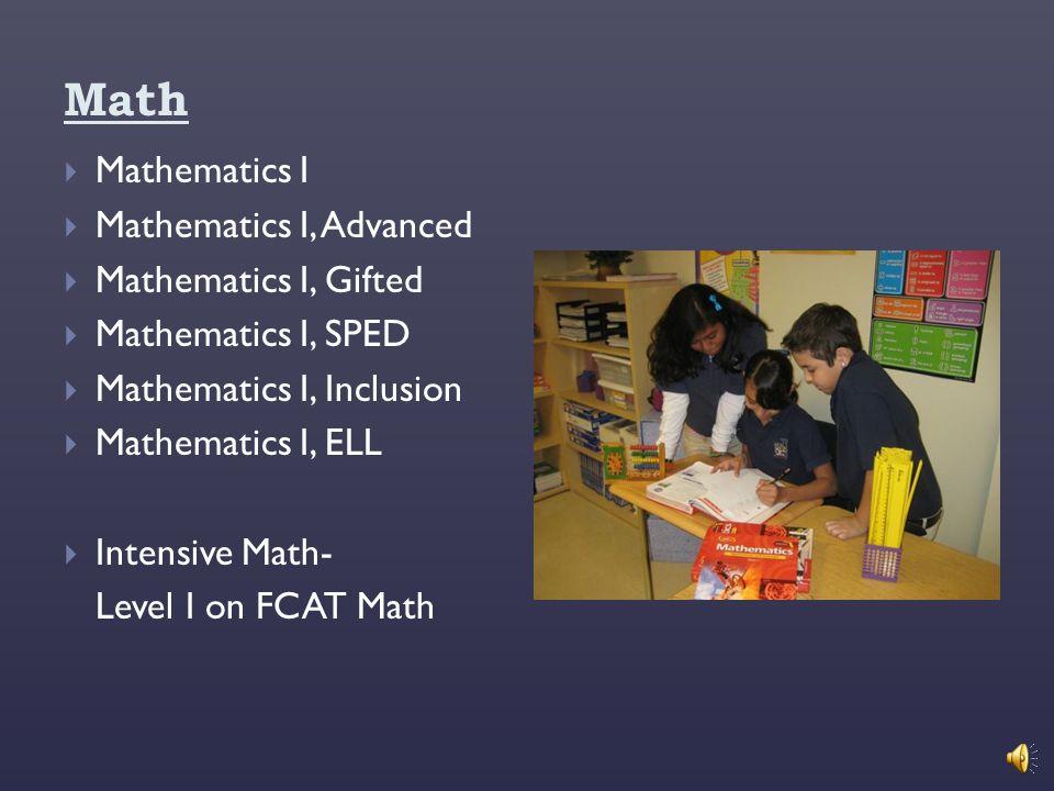Math Mathematics I Mathematics I, Advanced Mathematics I, Gifted