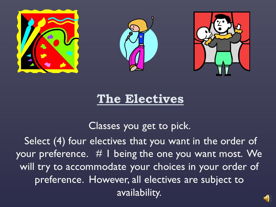 The Electives Classes you get to pick.