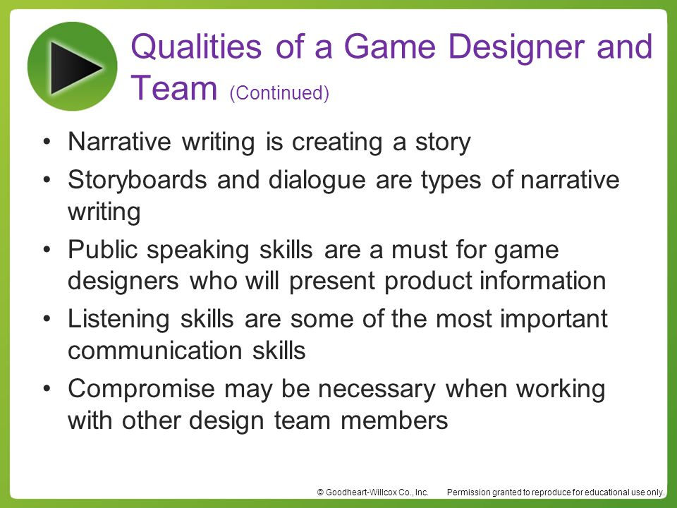 Qualities of a Game Designer and Team (Continued)