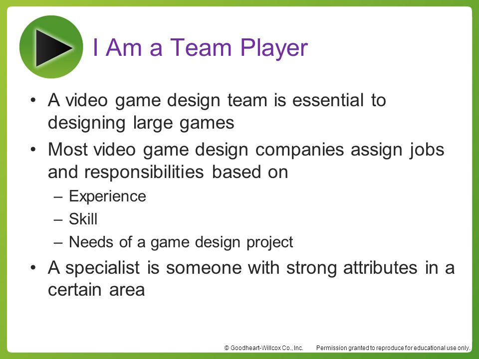 I Am a Team Player A video game design team is essential to designing large games.