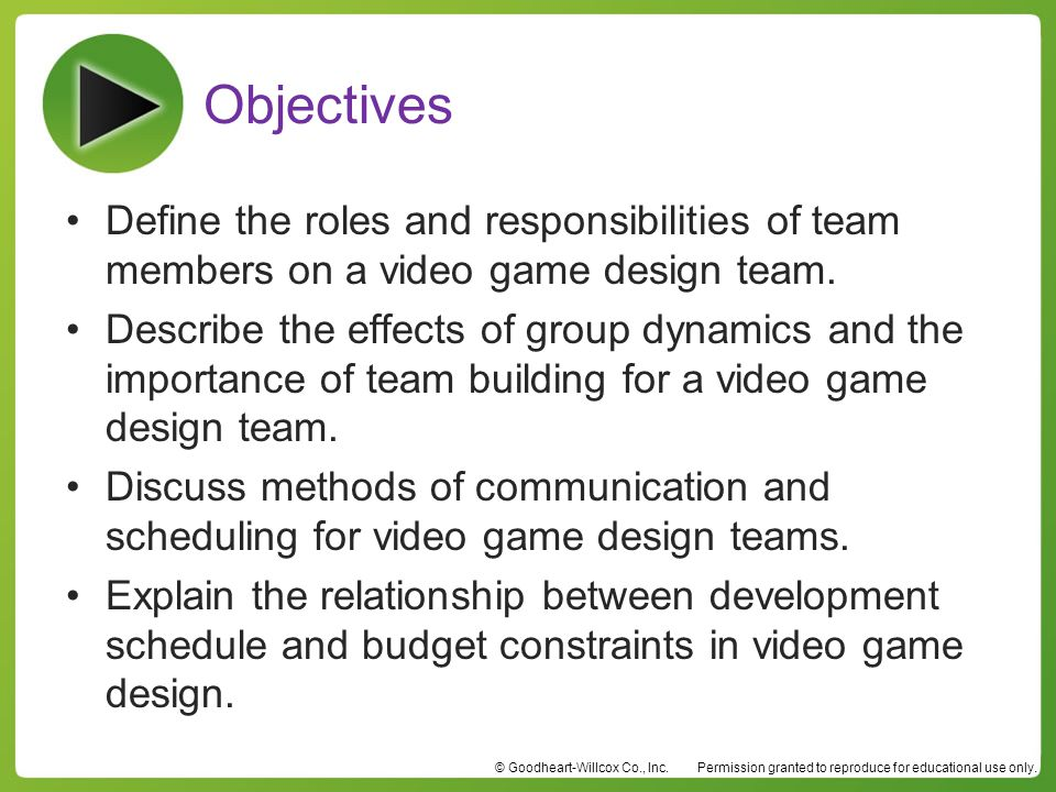 Objectives Define the roles and responsibilities of team members on a video game design team.