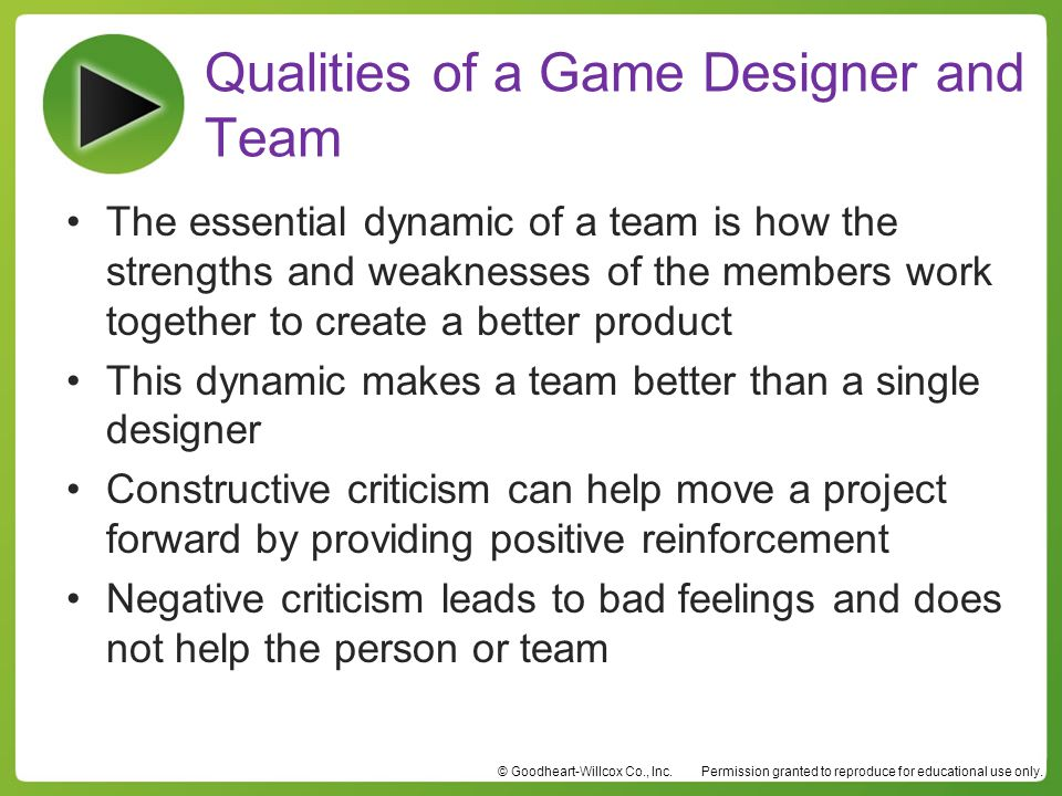 Qualities of a Game Designer and Team