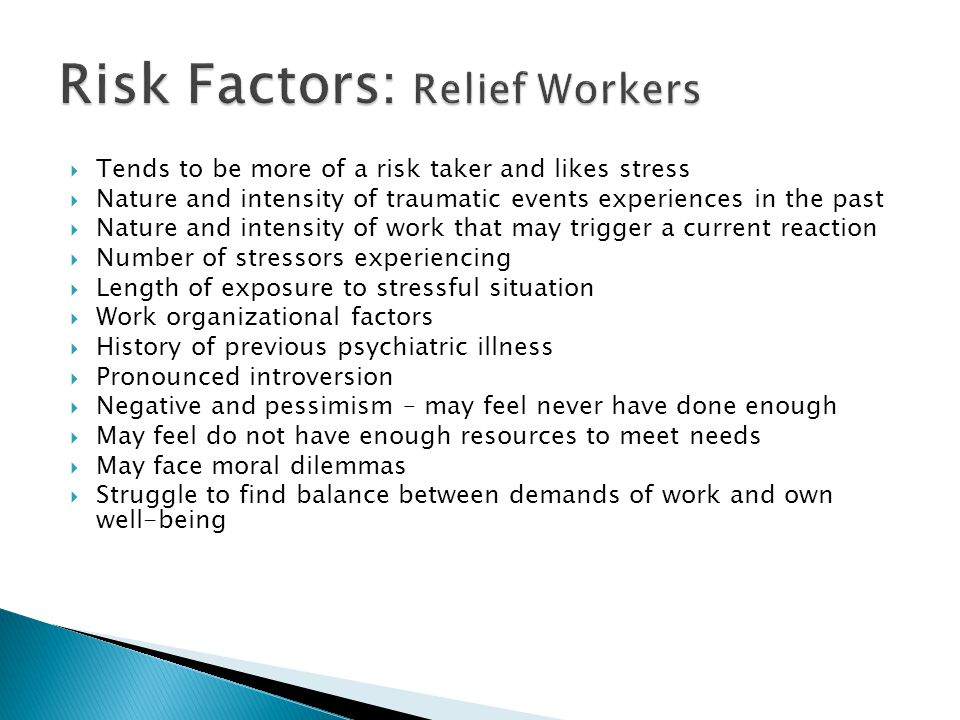Risk Factors: Relief Workers