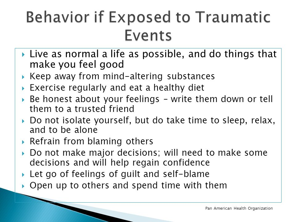 Behavior if Exposed to Traumatic Events