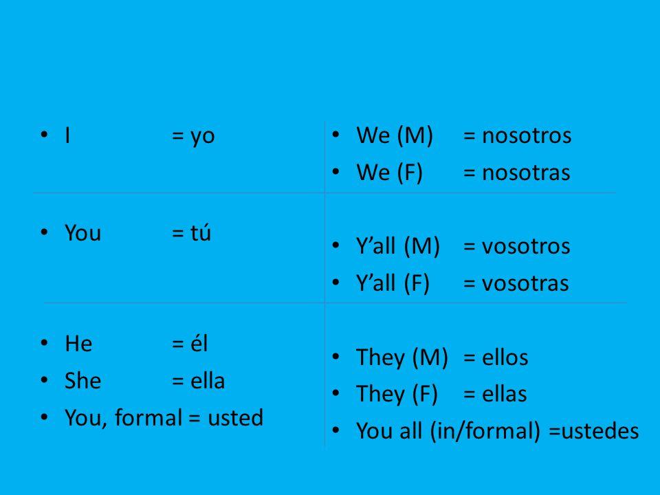 I = yo You = tú. He = él. She = ella. You, formal = usted. We (M) = nosotros. We (F) = nosotras.