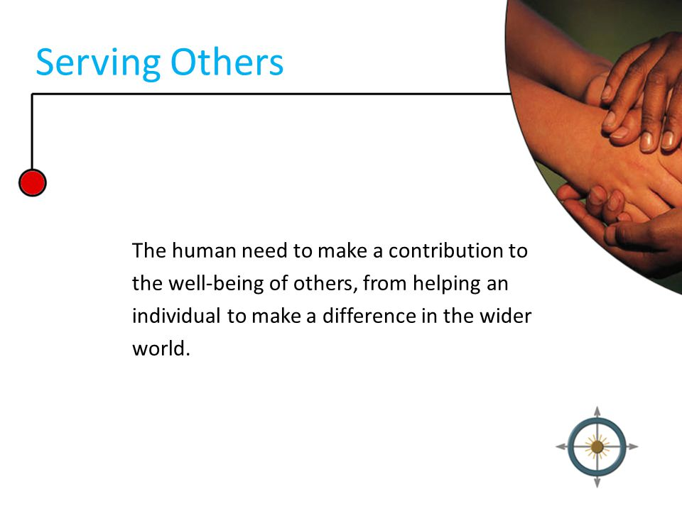 Serving Others The human need to make a contribution to