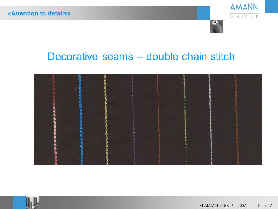 Decorative seams – double chain stitch
