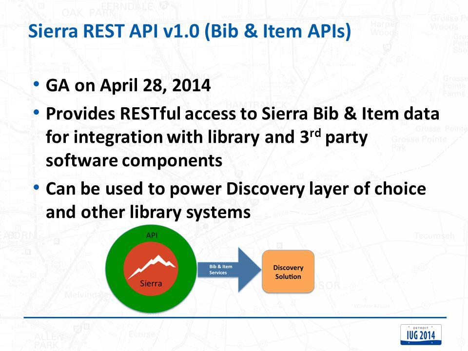Sierra REST API v1.0 (Bib & Item APIs)