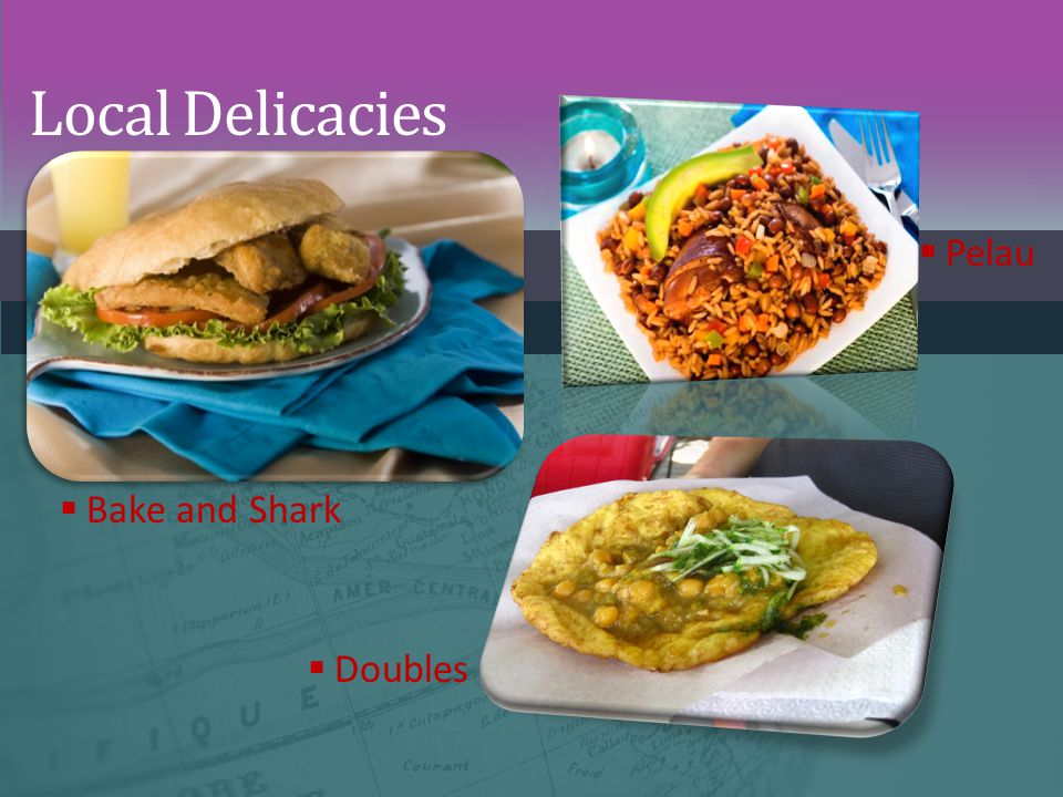 Local Delicacies Pelau Bake and Shark Doubles