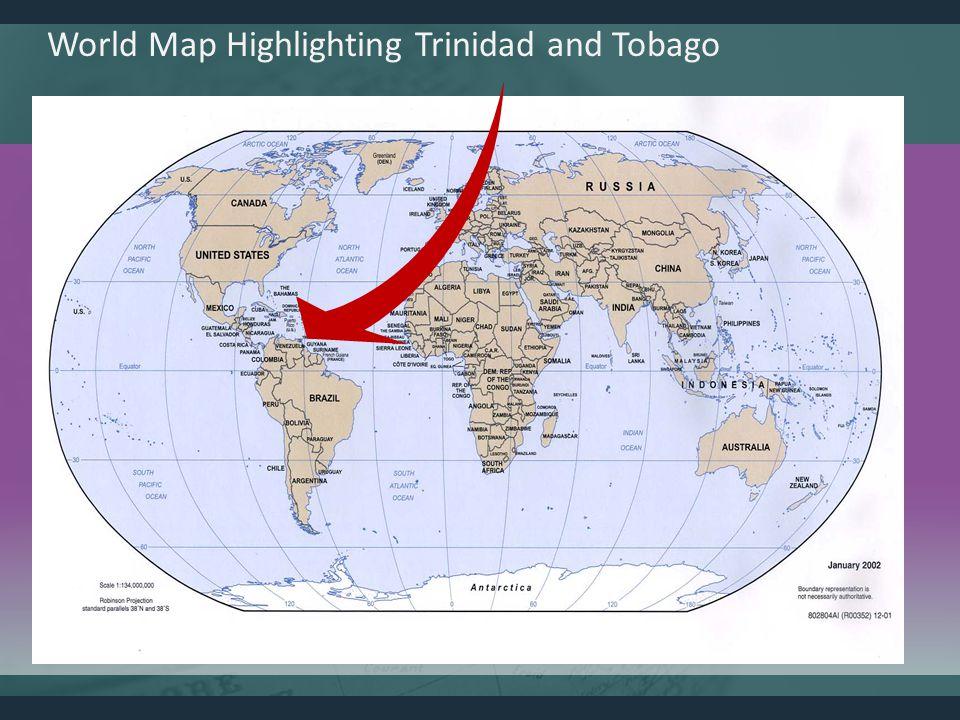 World Map Highlighting Trinidad and Tobago
