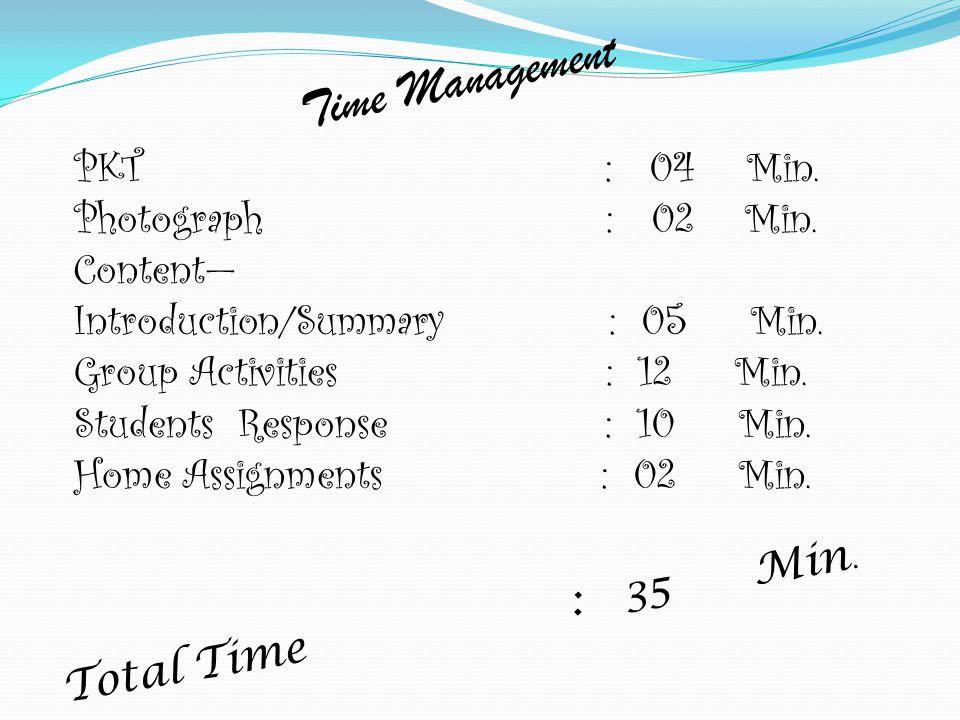 Time Management PKT : 04 Min. Photograph : 02 Min. Content—