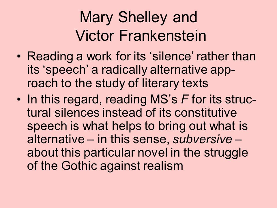 Mary Shelley and Victor Frankenstein