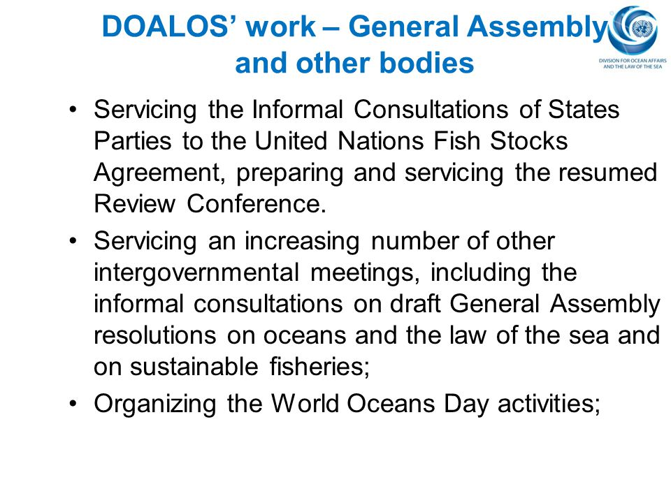 DOALOS' work – General Assembly and other bodies