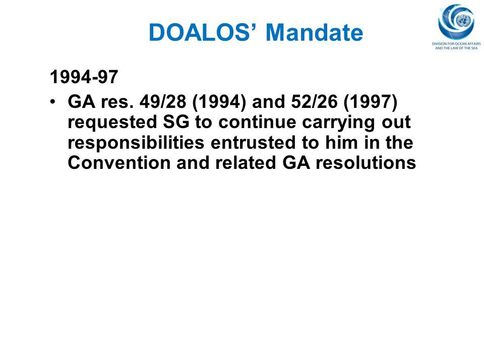 DOALOS' Mandate 1994-97.