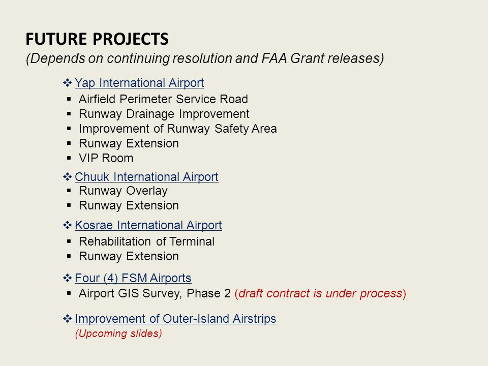 FUTURE PROJECTS (Depends on continuing resolution and FAA Grant releases) Yap International Airport.