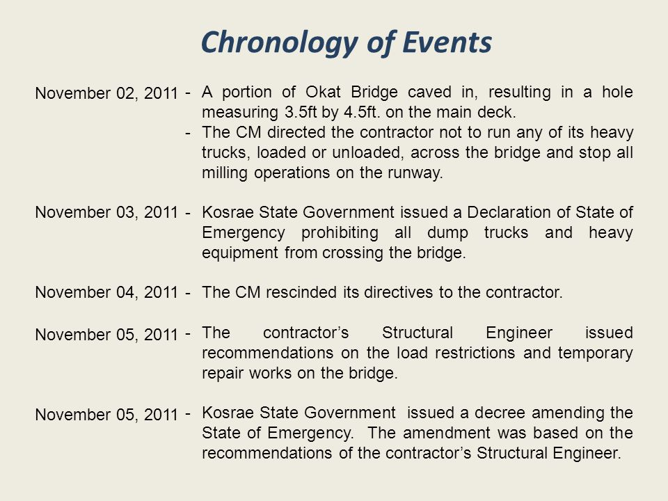 Chronology of Events November 02, 2011