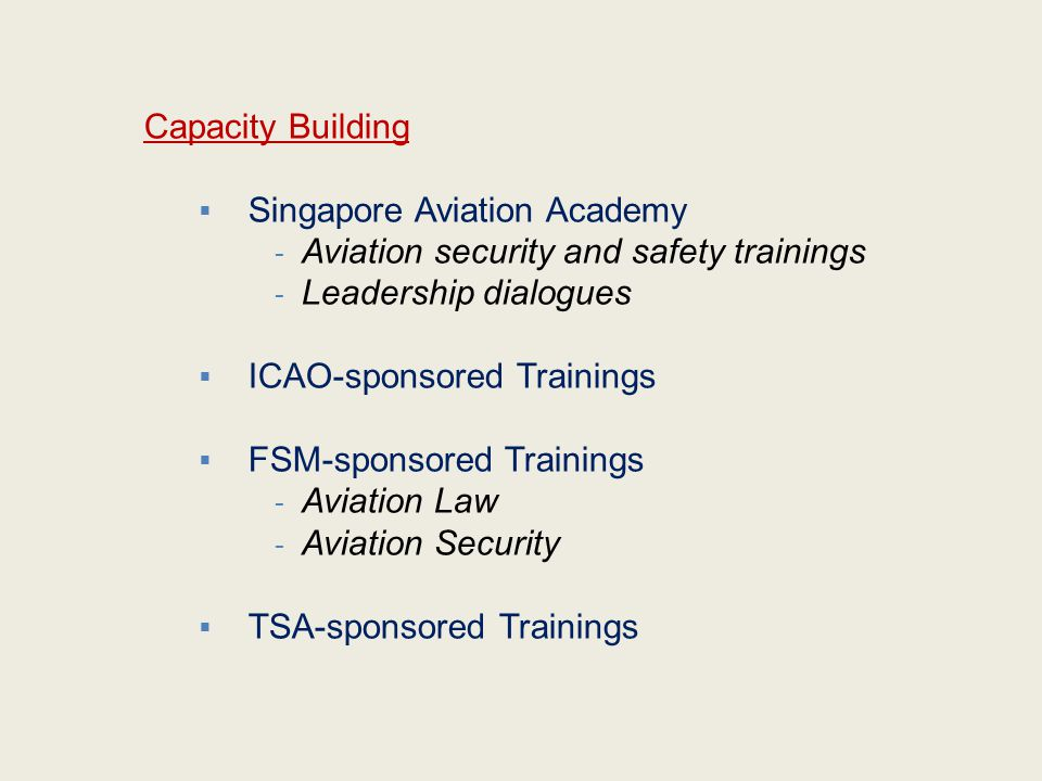 Capacity Building Singapore Aviation Academy. Aviation security and safety trainings. Leadership dialogues.