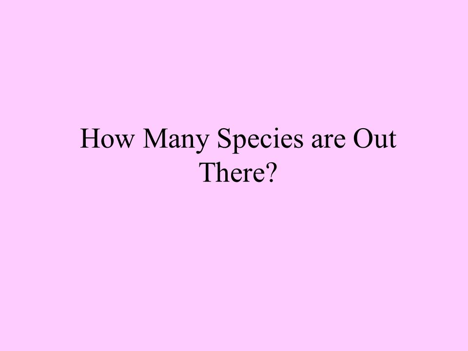 How Many Species are Out There