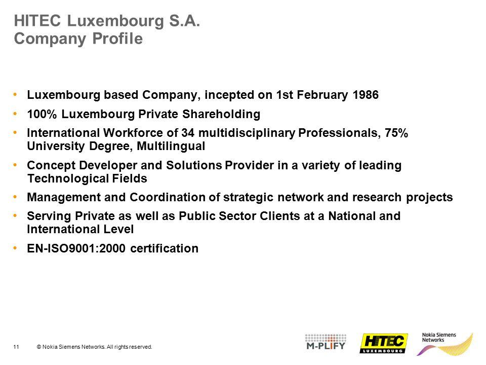 HITEC Luxembourg S.A. Company Profile