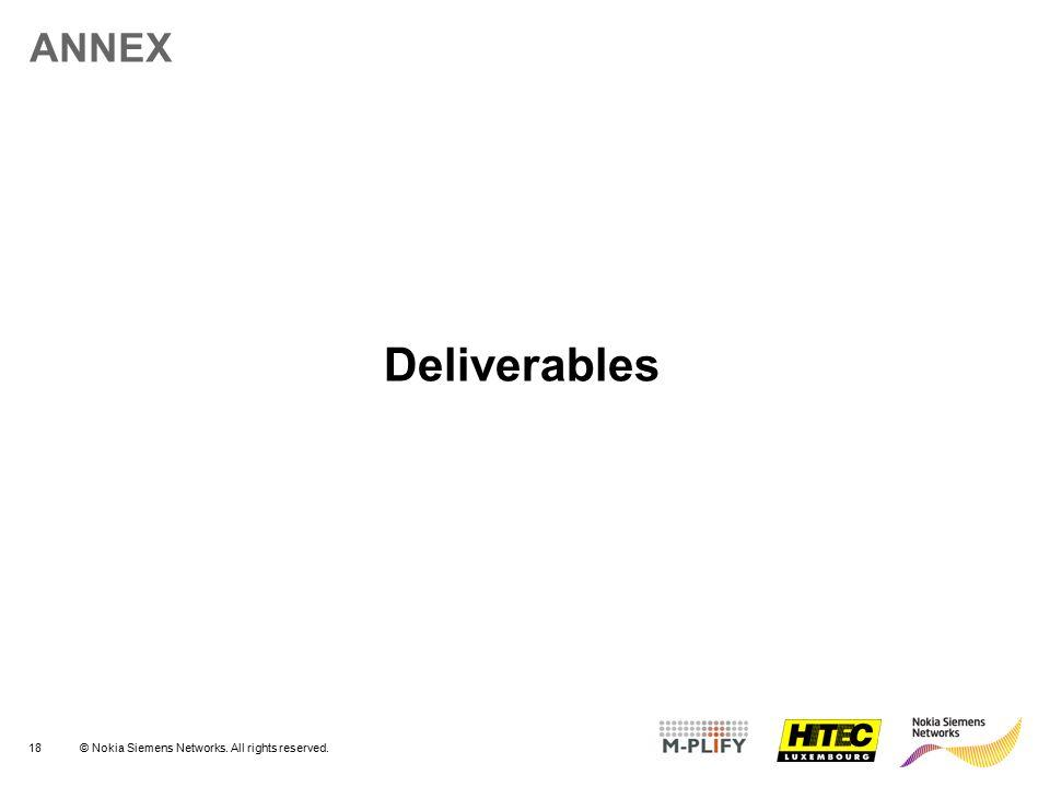 ANNEX Deliverables