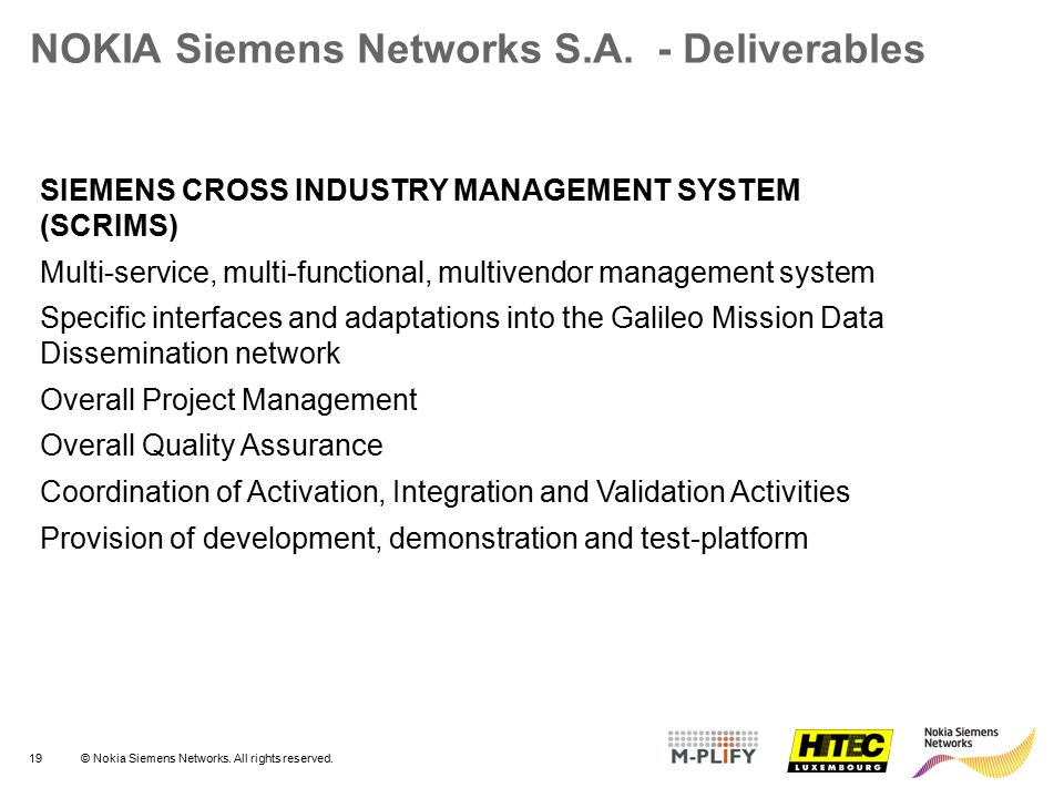 NOKIA Siemens Networks S.A. - Deliverables