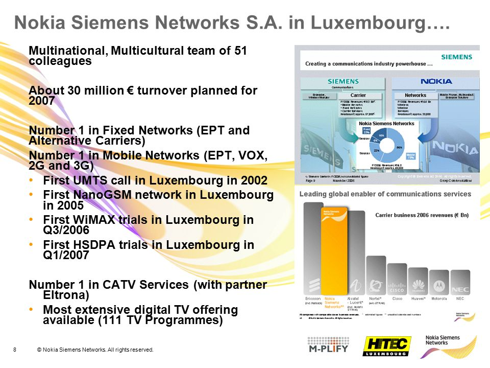 Nokia Siemens Networks S.A. in Luxembourg….