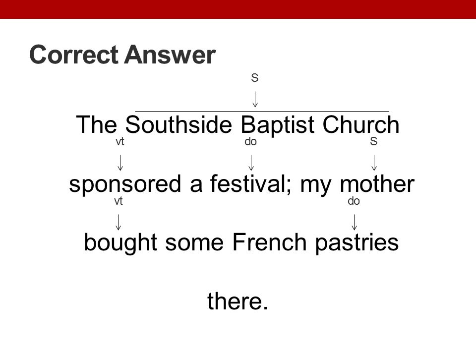 Correct Answer S. The Southside Baptist Church sponsored a festival; my mother bought some French pastries there.