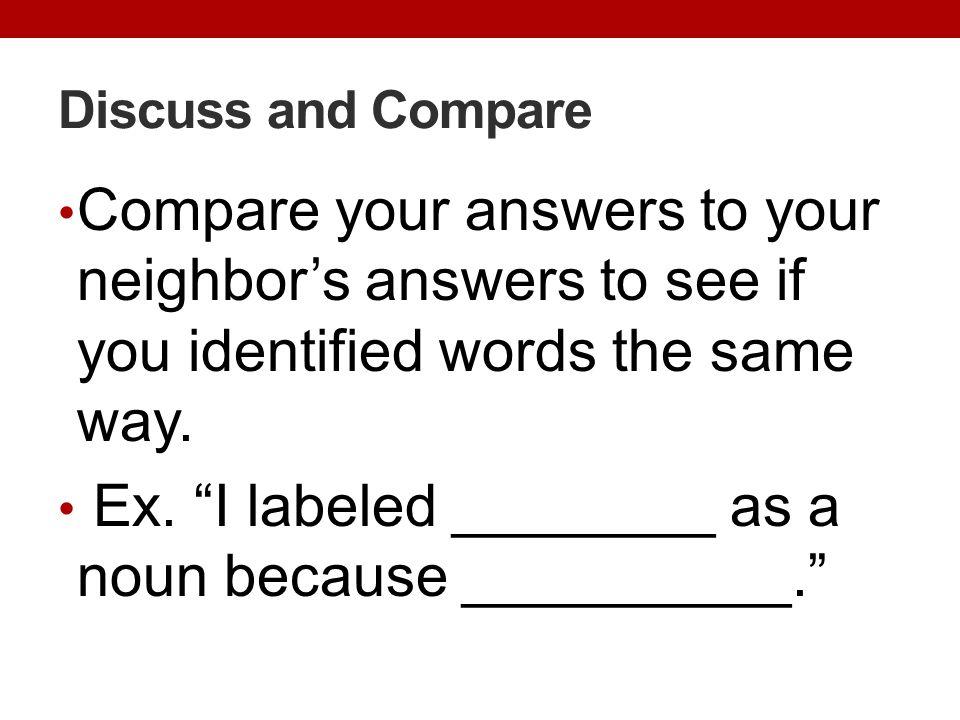 Ex. I labeled ________ as a noun because __________.