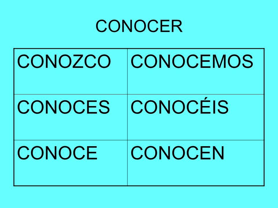 CONOCER CONOZCO CONOCEMOS CONOCES CONOCÉIS CONOCE CONOCEN