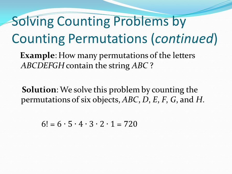 Solving Counting Problems by Counting Permutations (continued)
