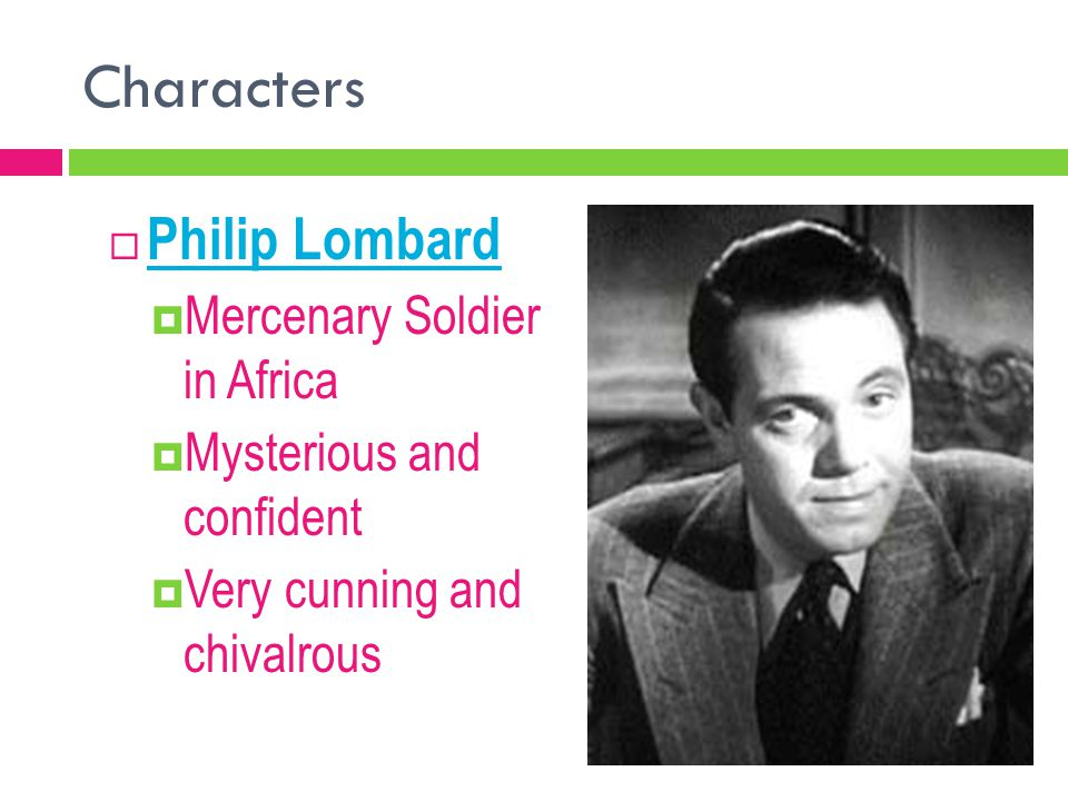 Characters Philip Lombard Mercenary Soldier in Africa