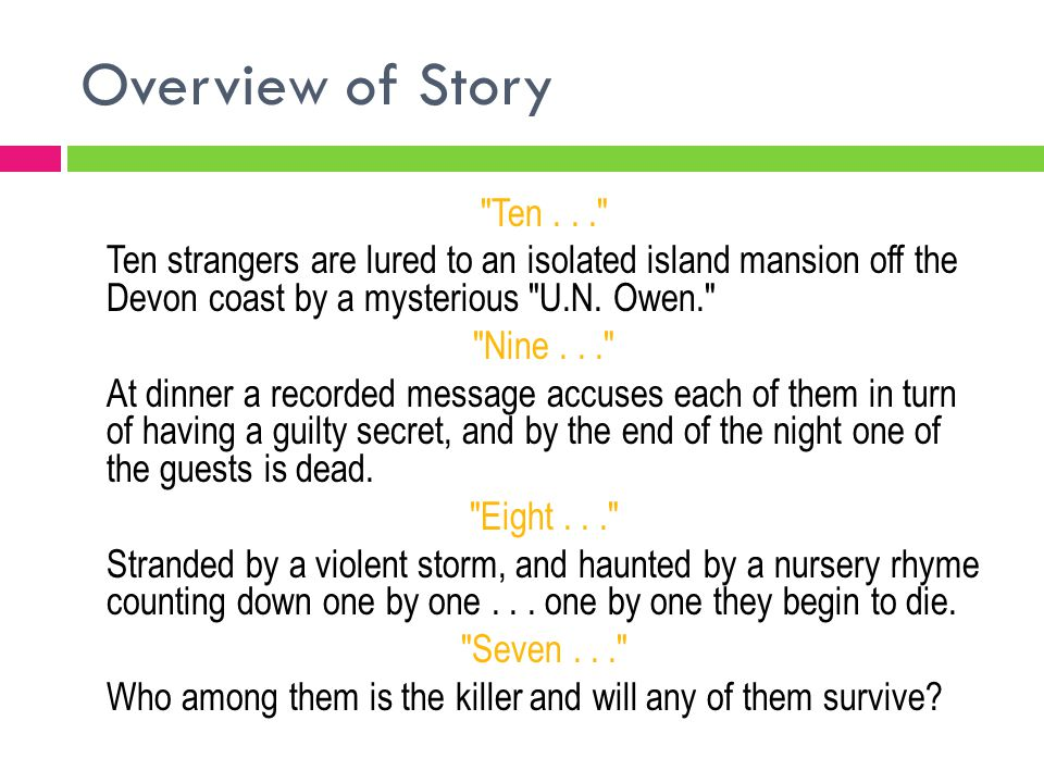 Overview of Story