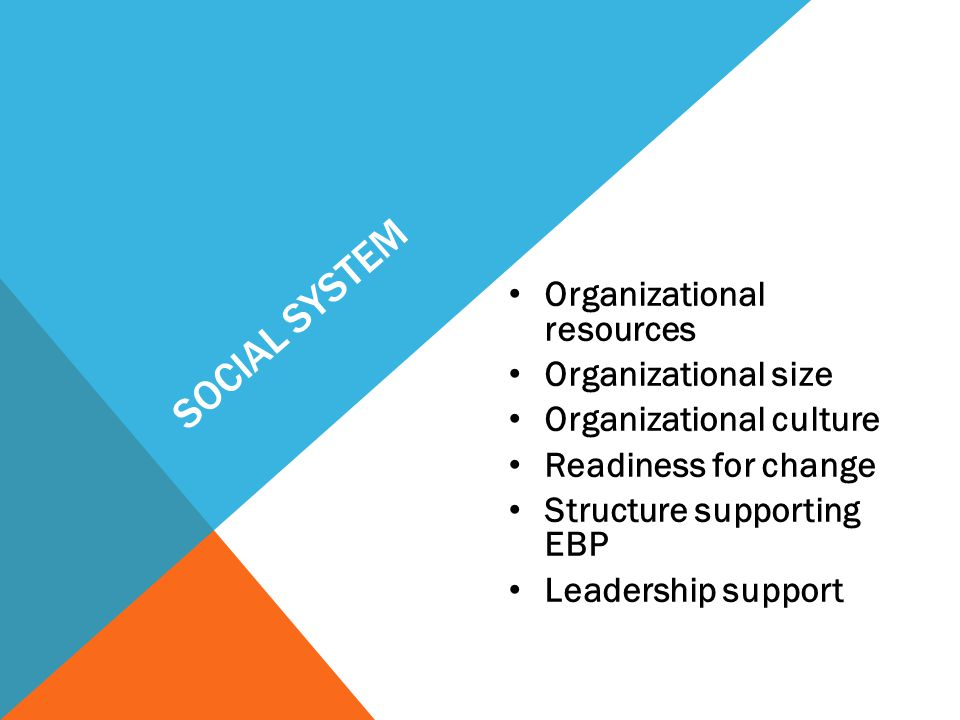 Social System Organizational resources Organizational size