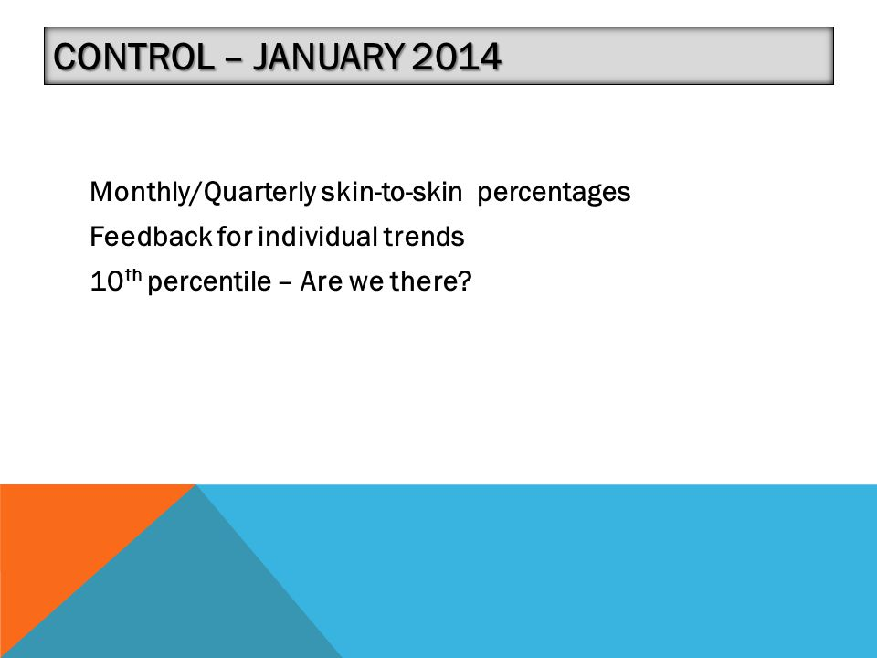 Control – January 2014 Monthly/Quarterly skin-to-skin percentages Feedback for individual trends 10th percentile – Are we there.