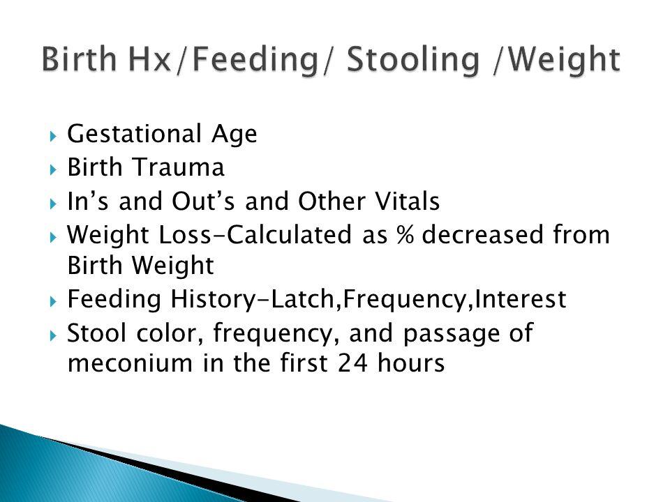 Birth Hx/Feeding/ Stooling /Weight