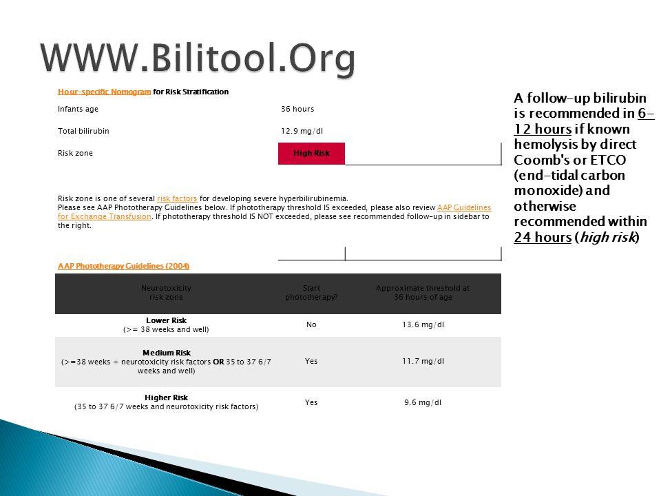 WWW.Bilitool.Org Hour-specific Nomogram for Risk Stratification. Infants age. 36 hours. Total bilirubin.
