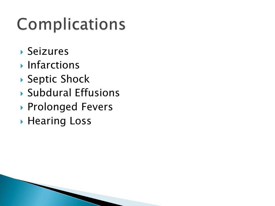 Complications Seizures Infarctions Septic Shock Subdural Effusions