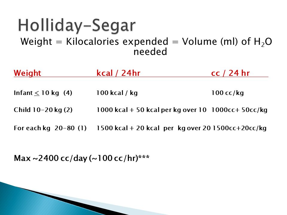 Weight = Kilocalories expended = Volume (ml) of H2O needed