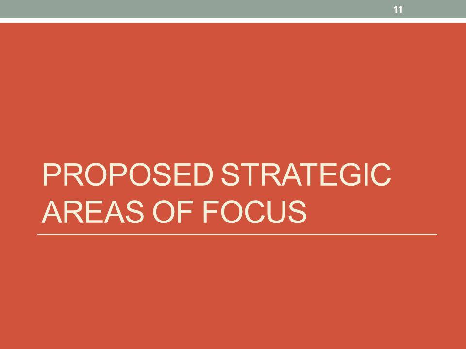 Proposed Strategic areas of focus