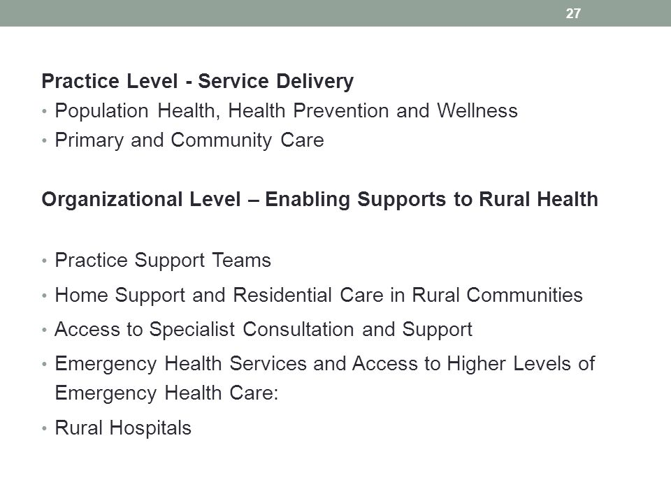 Practice Level - Service Delivery